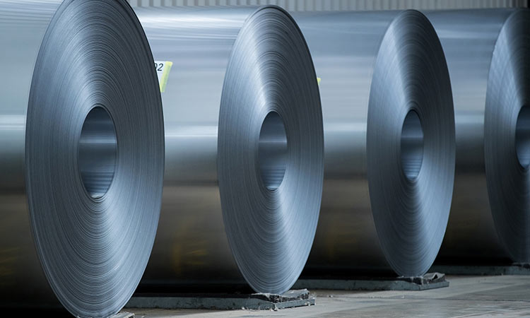 Galvanized steel in rolls